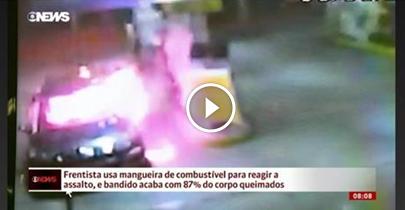 Frentista usa mangueira de combustível para reagir a assalto