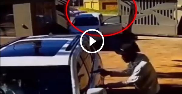 Foram roubar o cara só não contavam que o carro era blindado